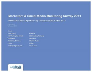 2011 Marketers & Social Media Monitoring Survey
